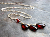Garnet Necklace Trio Briolette Teardrops Sterling Silver Read Gemstone Pendant by Aerides