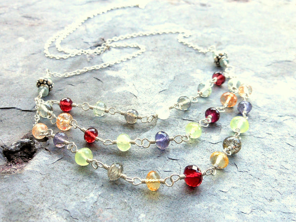 Gemstone Bib Necklace Layered Confetti Multi Stone, Sterling Silver, Handmade by Aerides