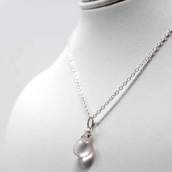 Petite Rose Quartz Necklace, Pendant Pink Drop, Sterling Silver by Aerides Designs