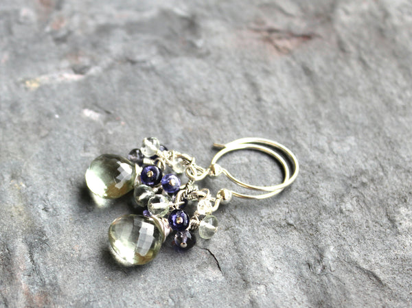 Green Amethyst Earrings Prasiolite Iolite Sterling Silver Cluster by Aerides