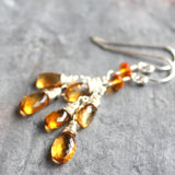Citrine Earrings Sterling Silver Teardrop Cascade November Birthstone, by Aerides Designs