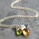 Citrine Blue Topaz Peridot Cluster Pendants Necklace Sterling Silver by Aerides Designs