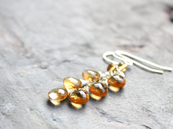 Citrine Earrings Sterling Silver Cascading Briolettes by Aerides Designs