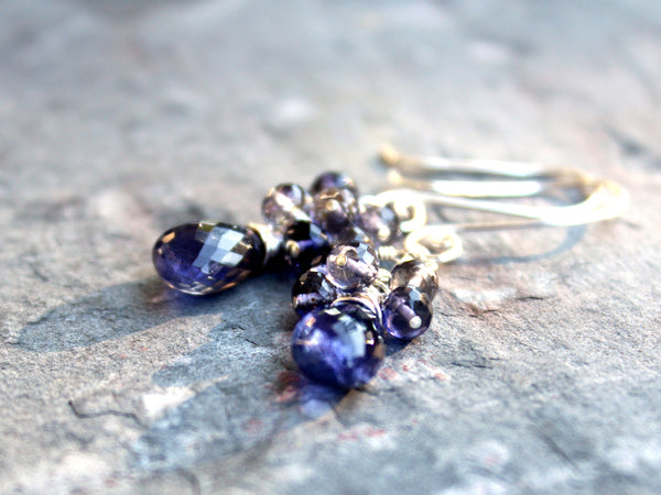 Cluster Iolite Earrings Beaded Dangle Drops Sterling Silver Blue by Aerides