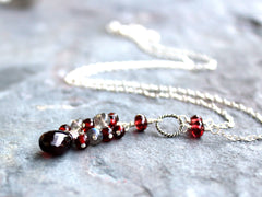 Garnet Necklace Labradorite Sterling Silver Red Gray Gemstone Briolette Necklace by Aerides