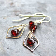 Garnet Earrings Sterling Silver Delicate Dangles Wire Wrapped Red Stones