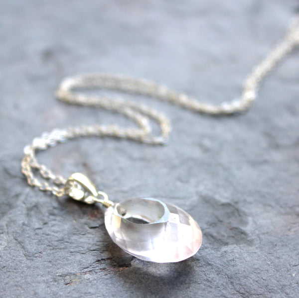 Oval Donut Pendant Rose Quartz Gemstone Necklace Sterling Silver 20 Inch