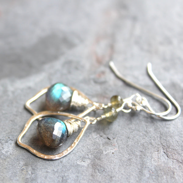 Sterling Silver Labradorite Earrings Marquise Hoops Dangle Gray Gemstone Jewelry