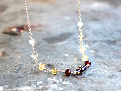 Gemstone Necklace Simple Sterling Silver Strand of Multi Stones Colors by Aerides