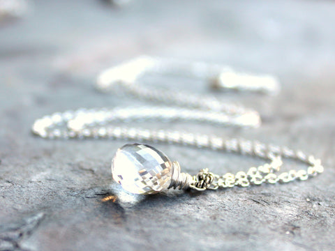Clear Crystal Quartz Necklace Briolette Sterling Silver by Aerides