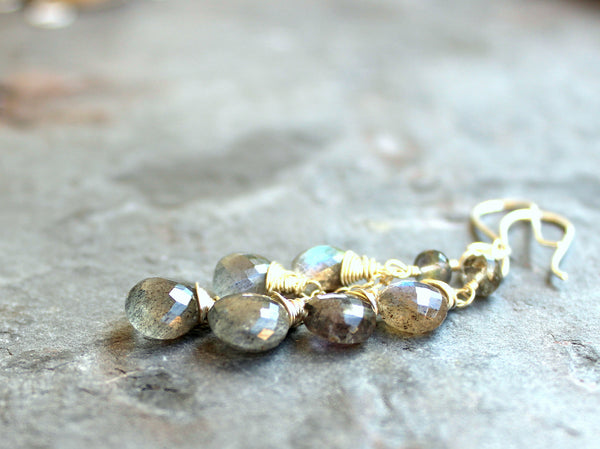 Labradorite Earrings Sterling Silver, Dangle Gemstone Earrings, by Aerides Designs