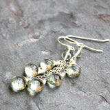 Cluster Cascade Green Amethyst Earrings, Prasiolite, Mint Green, Sterling Silver