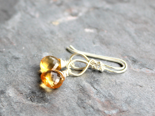 Teardrop Citrine Earrings Sterling Silver Handcrafted by Aerides Designs