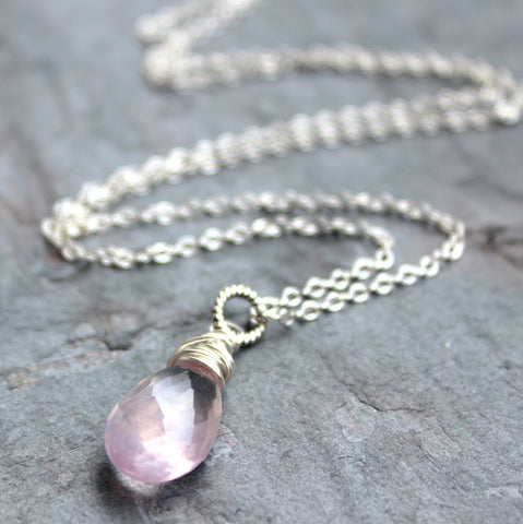 Teardrop Rose Quartz Necklace Sterling Silver Pale Pink Focal Stone by Aerides Designs