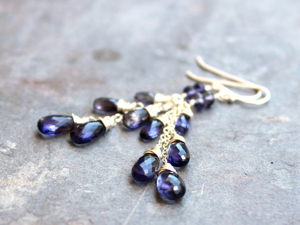 Long Cascade Iolite Earrings Chain Blue Teardrops Sterling Silver, by Aerides Designs