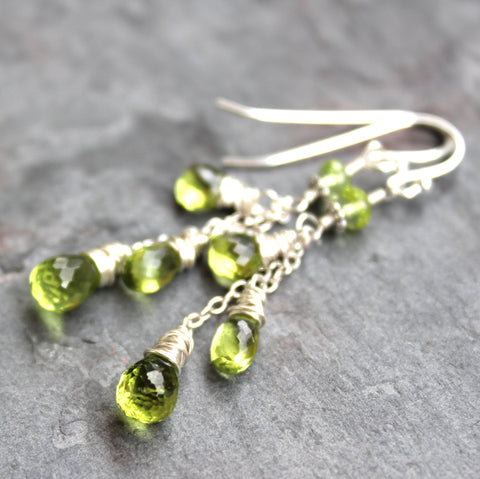 Peridot Earrings Sterling Silver Cascade of Faceted Green Gems by Aerides