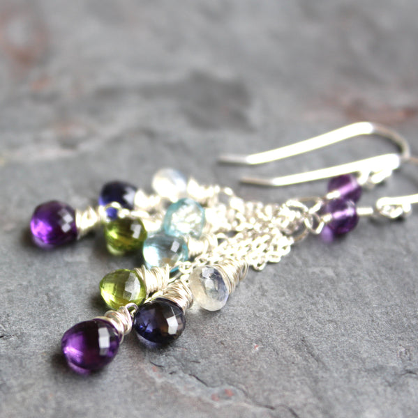 Crystal Quartz Cluster Cascade Earrings Sterling Silver Clear Waterfall by Aerides