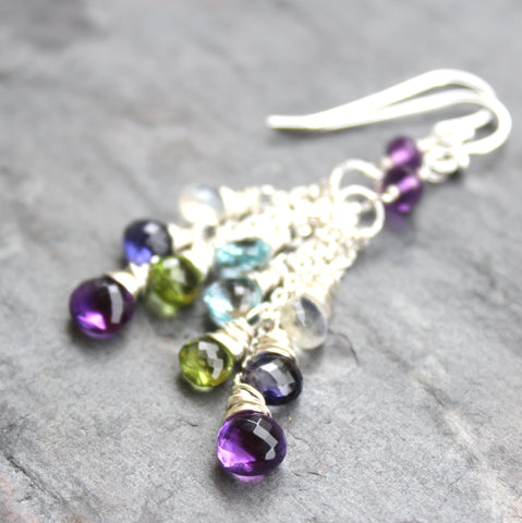Art Deco Multi Gemstone Earrings Sterling Silver Amethyst Iolite Peridot Blue Topaz Moonstone