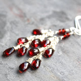 Long Cascade Garnet Earrings Chain Red Teardrops, Sterling Silver by Aerides Designs