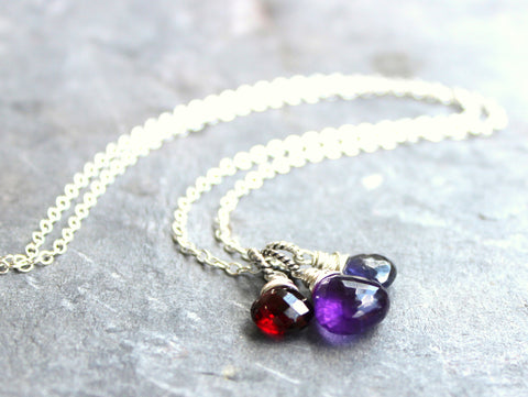 Trio Brio Necklace Amethyst Garnet Iolite Red Purple Blue, Sterling Silver, by Aerides