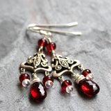 Handmade Chandelier Garnet Earrings Sterling Silver Art Deco Marcasite Red Gemstone
