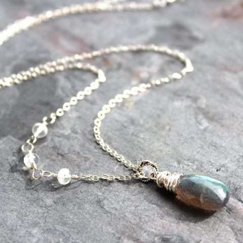Labradorite Moonstone Necklace, Sterling Silver, Wire Wrapped Handmade Asymmetrical