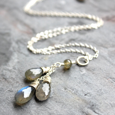 Handmade Labradorite Necklace Gray Gemstone Pendant Sterling Silver Teardrops by Aerides