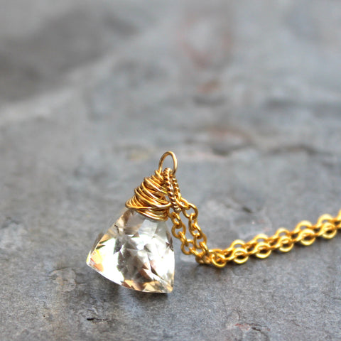Gold Filled Trilliant Pyramid Clear Crystal Quartz Necklace Briolette by Aerides