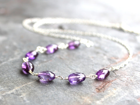 Amethyst Necklace Strand Purple Amethyst Jewelry Sterling Silver, Semi Precious February Birthstone