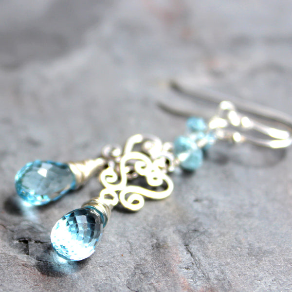 Blue Topaz Earrings Sterling Silver Scroll Dangle Gemstones November Birthstone Handmade
