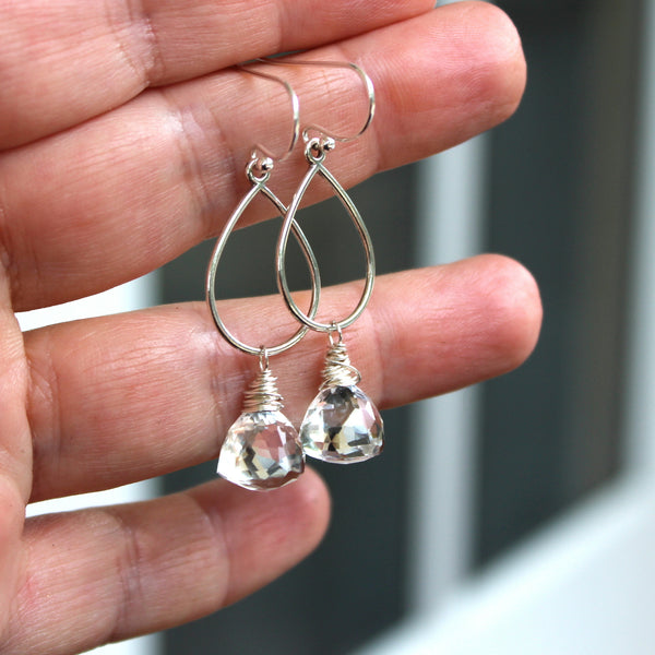 Crystal Quartz Earrings Teardrop Sterling Silver Larger Dangle Drops, Handmade