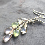 Pastel Gemstone Earrings Sterling Silver Rose Quartz Prehnite Pink Green 2.3 Inch