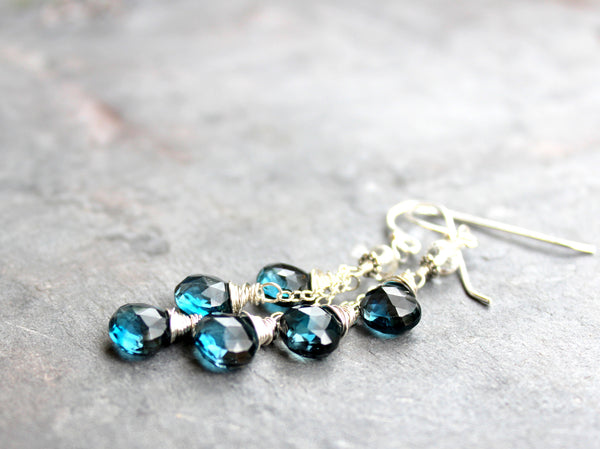 London Blue Topaz Earrings Sterling Silver December Birthstone Handmade by Aerides