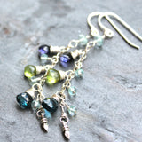 Blue Topaz Multi Gemstone Earrings Peridot Iolite Aqua Sterling Silver Delicate Cascade