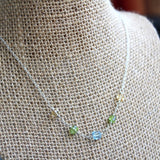 Gemstone Necklace Citrine Peridot Blue Topaz Sterling Silver Delicate Strand Cubes 18 Inch