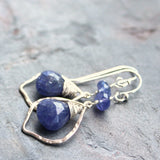 Tanzanite Earrings Sterling Silver Periwinkle Blue Lavender Gemstone Dangles