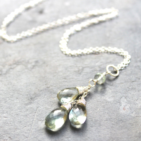 Green Amethyst Necklace Sterling Silver Teardrop Pendant Cascade, by Aerides Designs