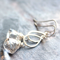 Chunky Trilliant Crystal Quartz Earrings 1.6 Inch Sterling Silver Dangling Teardrop Pyramids