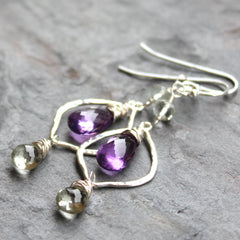 Amethyst Gemstone Earrings Purple Green Sterling Silver Long Dangle Hammered Lanterns 2.3 Inch