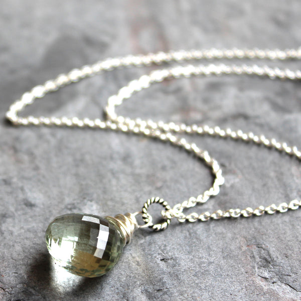 Roll over image to zoom in Focal Briolette Prasiolite Green Amethyst Necklace Sterling Silver Classic Gemstone Pendant