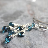 Dangling Dainty London Blue Topaz Earrings Sterling Silver December Birthstone Handmade by Aerides