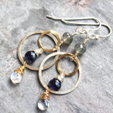 Multi Gemstone Mixed Metal Sterling Silver Gold Filled Iolite Moonstone Earrings