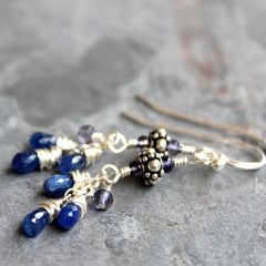 Petite Sapphire Earrings Sterling Silver Blue Gemstone Clusters 2 Inch