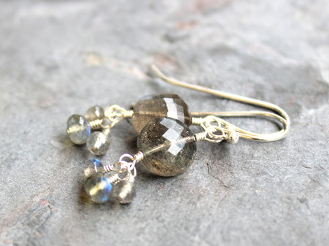 Labradorite Earrings Gemstone Coins Faceted Gray Stones, Sterling Silver, by Aerides