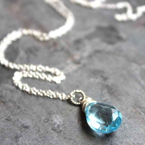 Simple Blue Topaz Necklace Pendant Sterling Silver Teardrop November Birthstone 18 Inch
