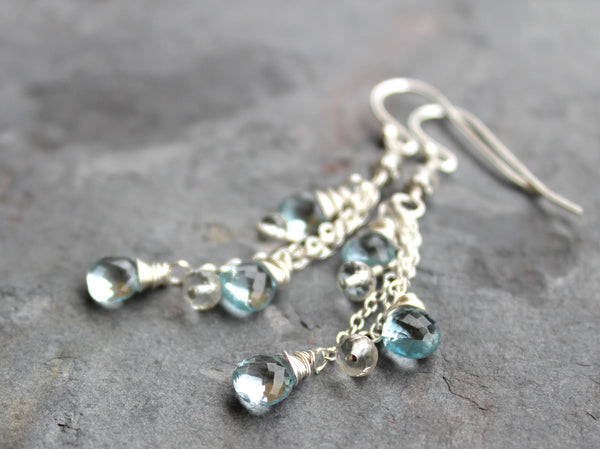 Blue Topaz Earrings Sterling Silver December Birthstone Waterfall Cascade, by Aerides