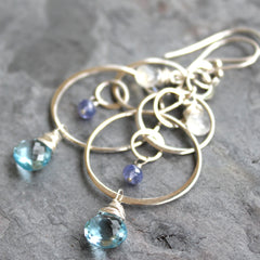 Blue Topaz Gemstone Earrings Sterling Silver Circles Moonstone Statement