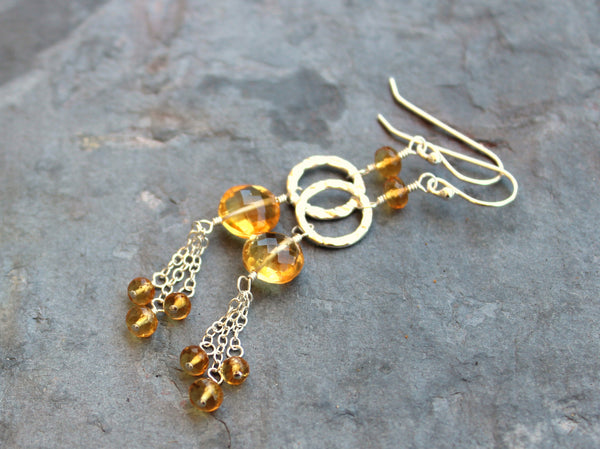 Citrine Earrings Sterling Silver Hammered Circles with Chains, Long, November Birthstone