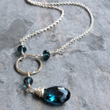 London Blue Topaz Necklace Sterling Silver Circle Drama Dangle