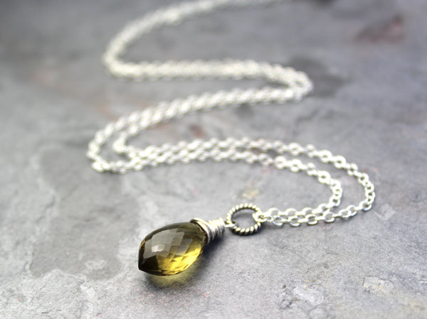 Olive Quartz Necklace Sterling Silver Gemstone Pointed Briolette Pendant, by Aerides